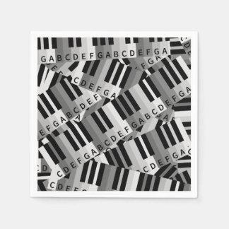 Piano Keys Black and WhitePpattern Paper Napkin