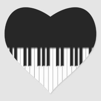 Piano Keys black & white Heart Sticker