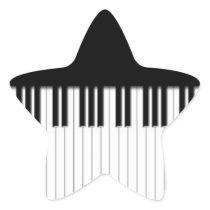 Piano Keys black & white Star Sticker