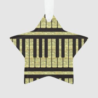 Piano Keys Black With Sheet Music Pattern