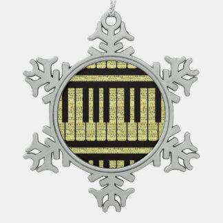 Piano Keys Black With Sheet Music Pattern Ornament