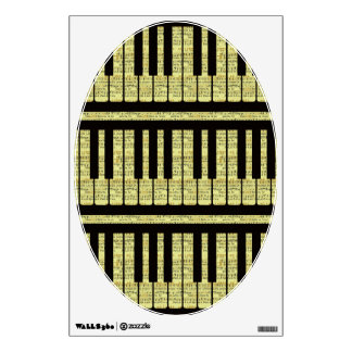 Piano Keys Black With Sheet Music Pattern Wall Decal