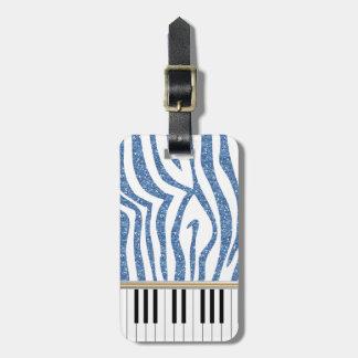 Piano Keys Blue Glitter Zebra Print Bag Tag