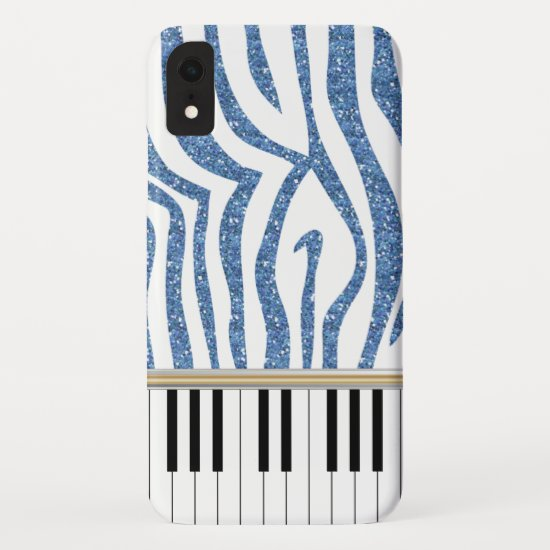 Piano Keys Blue Glitter Zebra Print iPhone XR Case