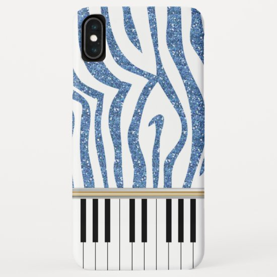 Piano Keys Blue Glitter Zebra Print iPhone XS Max Case