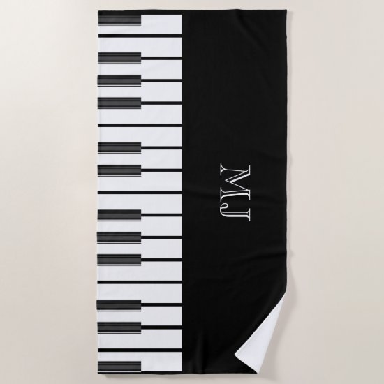 Piano keys chords world music chic MONOGRAMMED Beach Towel