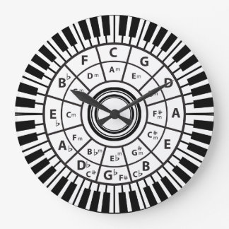 Piano Keys Circle of Fifths Large Clock