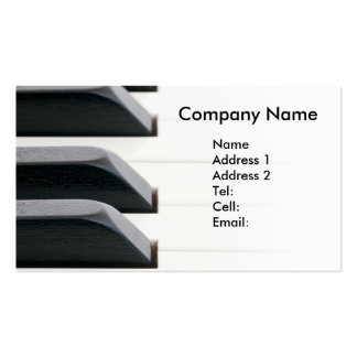 Piano keys fading to bright white business card templates