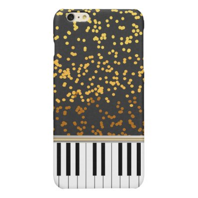 Piano Keys Gold Polka Dots Pattern Glossy iPhone 6 Plus Case