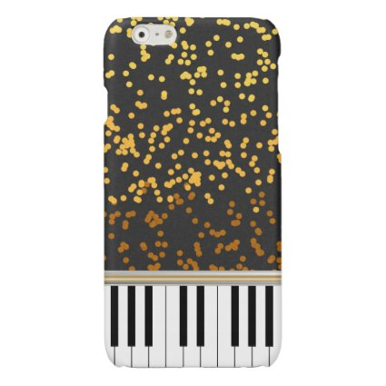 Piano Keys Gold Polka Dots Pattern Glossy iPhone 6 Case
