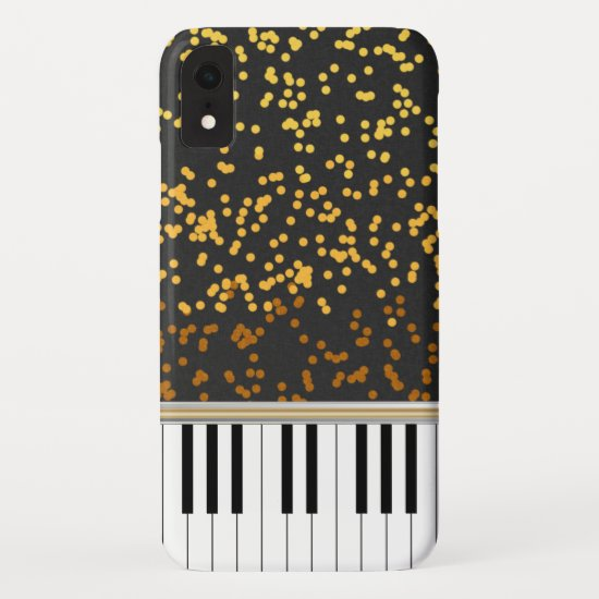 Piano Keys Gold Polka Dots Pattern iPhone XR Case