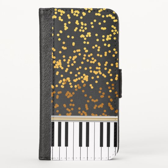 Piano Keys Gold Polka Dots Pattern iPhone XS Wallet Case