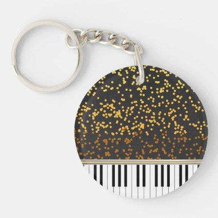 Piano Keys Gold Polka Dots Pattern Double-Sided Round Acrylic Keychain