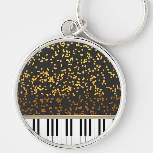 Piano Keys Gold Polka Dots Pattern Key Chain