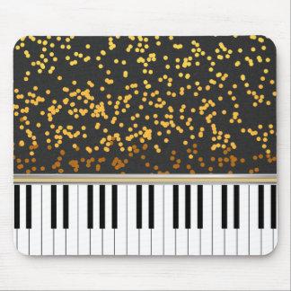 Piano Keys Gold Polka Dots Pattern Mousepads