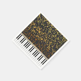 Piano Keys Gold Polka Dots Pattern Paper Napkin