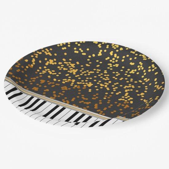 Piano Keys Gold Polka Dots Pattern Paper Plate