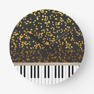 Piano Keys Gold Polka Dots Pattern Round Clock