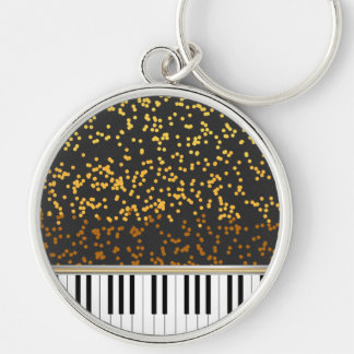 Piano Keys Gold Polka Dots Pattern Silver-Colored Round Keychain