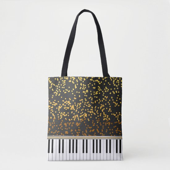 Piano Keys Gold Polka Dots Pattern Tote Bag