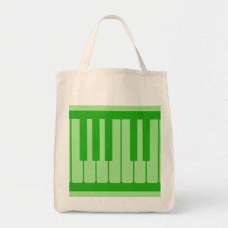 Piano Keys Green Pattern Tote Bags