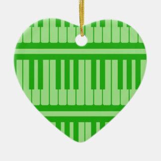 Piano Keys Green Pattern Ornament