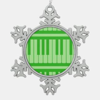 Piano Keys Green Pattern Ornaments