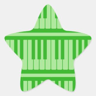 Piano Keys Green Pattern Star Stickers