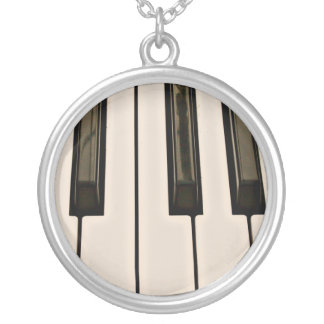 piano keys HDR vintage look electric keyboard Silver Plated Necklace