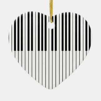 Piano Keys ivory white and black Ceramic Ornament