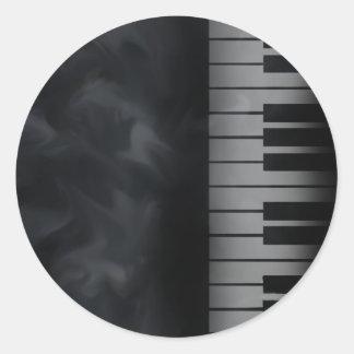 Piano Keys Keyboard Classic Round Sticker
