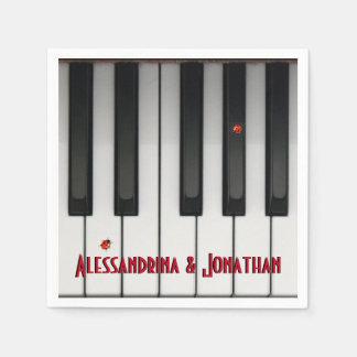 Piano Keys Ladybugs Customizable Names Paper Napkin