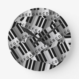 Piano Keys Layered Pattern Round Clock
