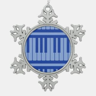 Piano Keys Light Blue Pattern Ornaments