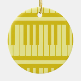 Piano Keys Light Yellow Pattern Christmas Ornaments