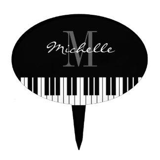 Piano keys monogram cake topper for pianist
