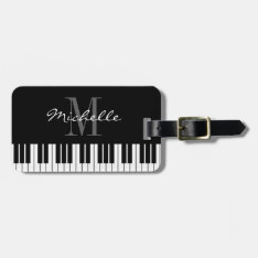 Piano Keys Monogram Travel Luggage Tag For Pianist at Zazzle