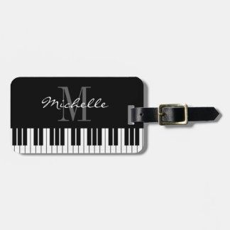 Piano keys monogram travel luggage tag for pianist