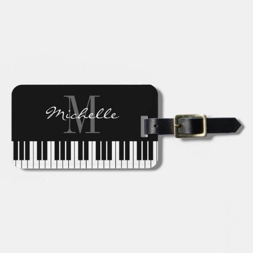 Piano keys monogram travel luggage tag for pianist