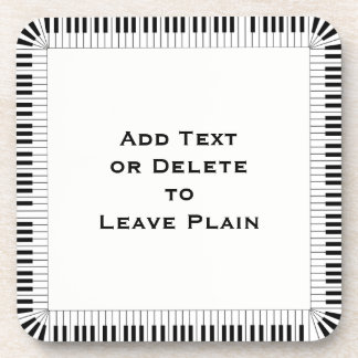 Piano Keys Music Border /Optional Words / Set of 6 Drink Coaster