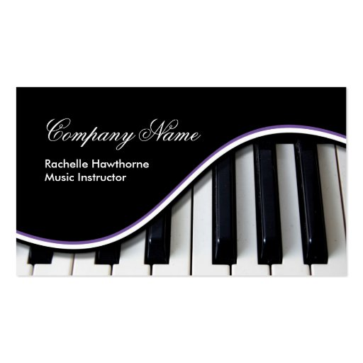 Piano Keys Music Business Cards purple