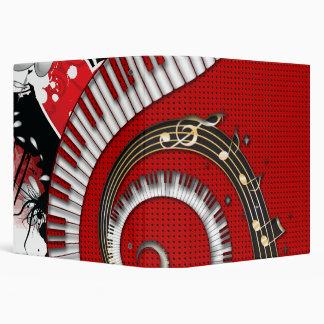 Piano Keys Music Notes Grunge Floral Swirls Binder