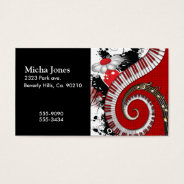 Piano Keys Music Notes Grunge Floral Swirls Business Card at Zazzle