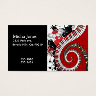 Piano Keys Music Notes Grunge Floral Swirls Business Card