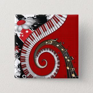 Piano Keys Music Notes Grunge Floral Swirls Button
