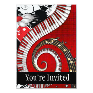 Piano Keys Music Notes Grunge Floral Swirls Card