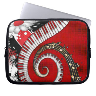 Piano Keys Music Notes Grunge Floral Swirls Computer Sleeve