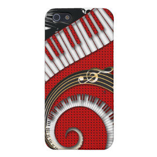 Piano Keys Music Notes Grunge Floral Swirls Cover For iPhone SE/5/5s