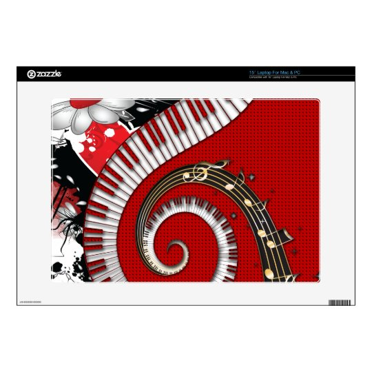 """Piano Keys Music Notes Grunge Floral Swirls Decal For 15"""" Laptop"""