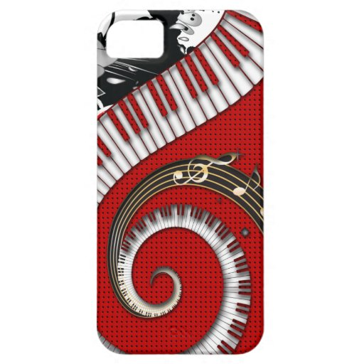 Piano Keys Music Notes Grunge Floral Swirls iPhone 5 Cases